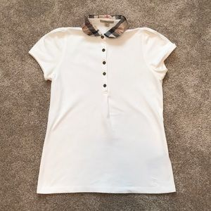 Women's Burberry Polo with Plaid Collar